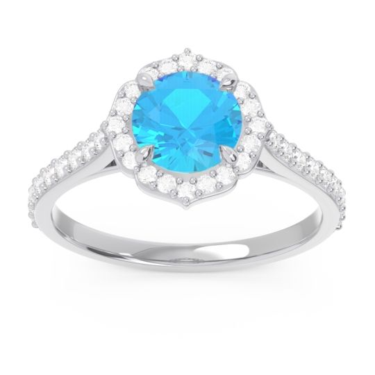 Swiss Blue Topaz Halo Pave Pulla Ring with Diamond in 14k White Gold