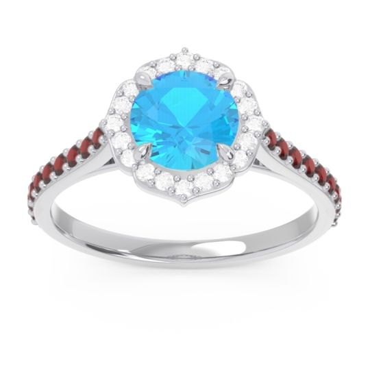 Swiss Blue Topaz Halo Pave Pulla Ring with Diamond and Garnet in 18k White Gold