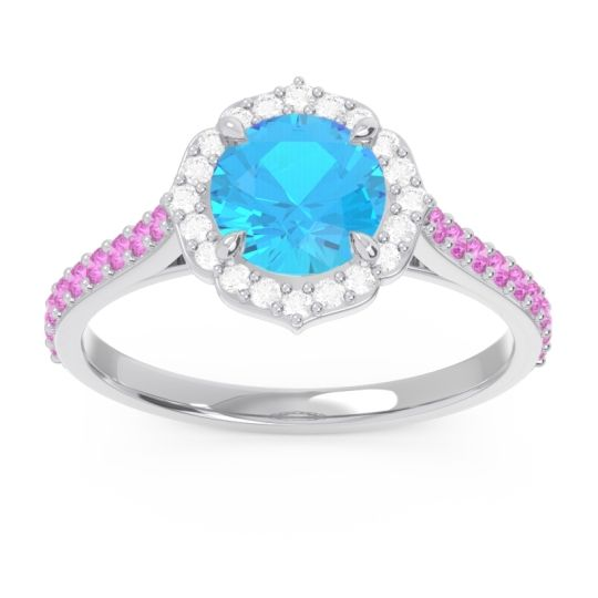 Swiss Blue Topaz Halo Pave Pulla Ring with Diamond and Pink Tourmaline in 14k White Gold