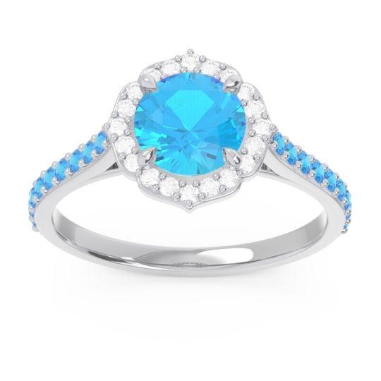 Swiss Blue Topaz Halo Pave Pulla Ring with Diamond in Palladium