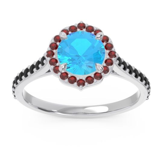 Swiss Blue Topaz Halo Pave Pulla Ring with Garnet and Black Onyx in 18k White Gold