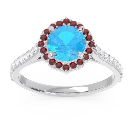 Swiss Blue Topaz Halo Pave Pulla Ring with Garnet and Diamond in Platinum
