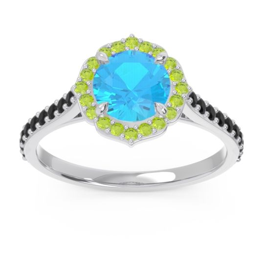 Swiss Blue Topaz Halo Pave Pulla Ring with Peridot and Black Onyx in Palladium
