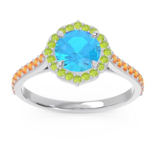 Swiss Blue Topaz Halo Pave Pulla Ring with Peridot and Citrine in 14k White Gold