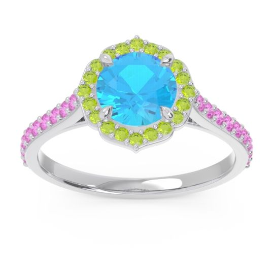 Swiss Blue Topaz Halo Pave Pulla Ring with Peridot and Pink Tourmaline in Platinum