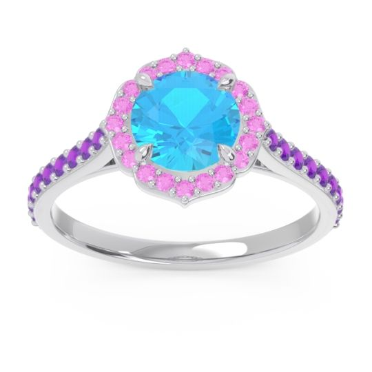 Swiss Blue Topaz Halo Pave Pulla Ring with Pink Tourmaline and Amethyst in Platinum