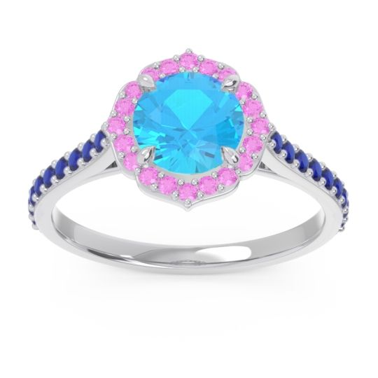 Swiss Blue Topaz Halo Pave Pulla Ring with Pink Tourmaline and Blue Sapphire in Palladium