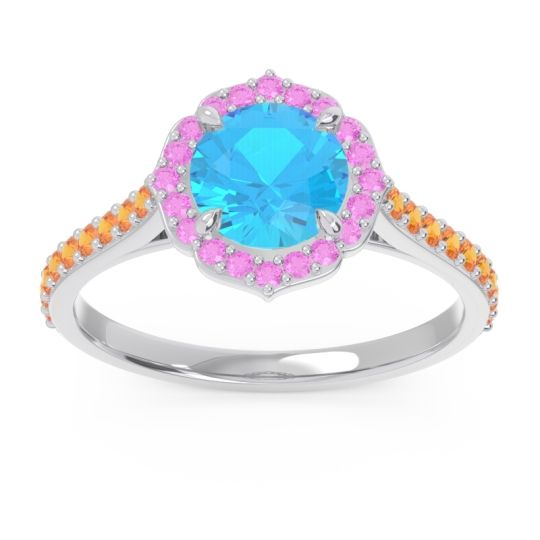 Swiss Blue Topaz Halo Pave Pulla Ring with Pink Tourmaline and Citrine in 18k White Gold