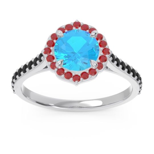 Swiss Blue Topaz Halo Pave Pulla Ring with Ruby and Black Onyx in 14k White Gold