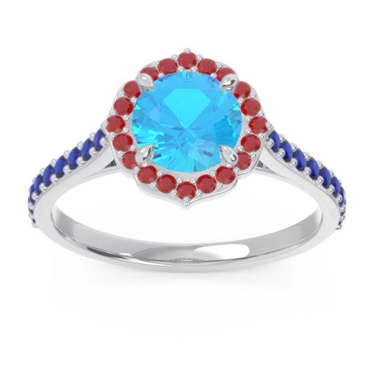 Swiss Blue Topaz Halo Pave Pulla Ring with Ruby and Blue Sapphire in Palladium