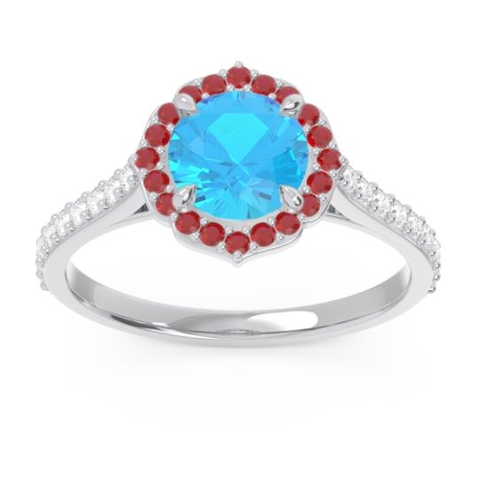 Swiss Blue Topaz Halo Pave Pulla Ring with Ruby and Diamond in Platinum