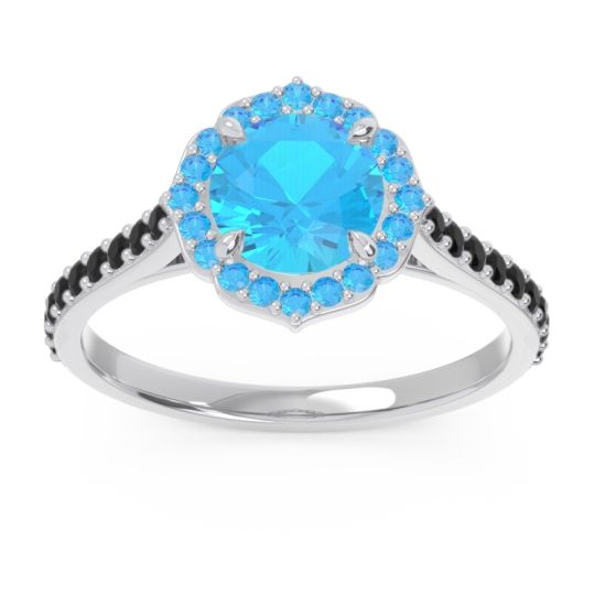 Swiss Blue Topaz Halo Pave Pulla Ring with Black Onyx in 14k White Gold