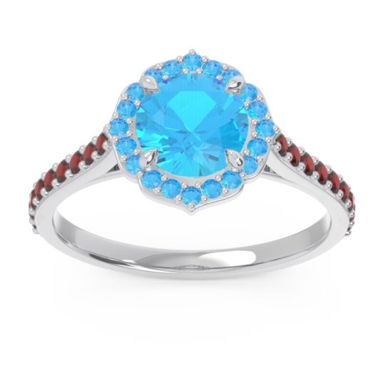 Swiss Blue Topaz Halo Pave Pulla Ring with Garnet in 14k White Gold