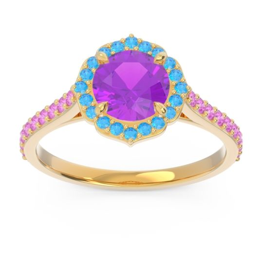 Amethyst Halo Pave Pulla Ring with Swiss Blue Topaz and Pink Tourmaline in 14k Yellow Gold