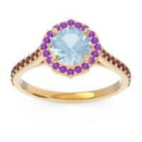 Aquamarine Halo Pave Pulla Ring with Amethyst and Garnet in 18k Yellow Gold