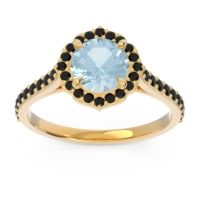 Aquamarine Halo Pave Pulla Ring with Black Onyx in 18k Yellow Gold
