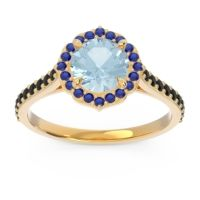Aquamarine Halo Pave Pulla Ring with Blue Sapphire and Black Onyx in 14k Yellow Gold