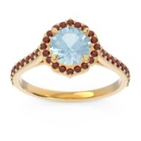 Aquamarine Halo Pave Pulla Ring with Garnet in 14k Yellow Gold
