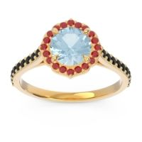 Aquamarine Halo Pave Pulla Ring with Ruby and Black Onyx in 18k Yellow Gold
