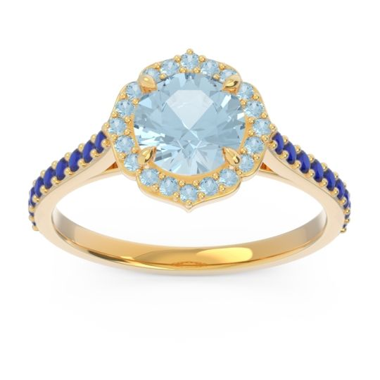 Aquamarine Halo Pave Pulla Ring with Blue Sapphire in 18k Yellow Gold