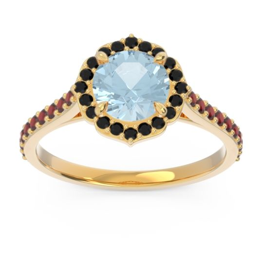Aquamarine Halo Pave Pulla Ring with Black Onyx and Garnet in 18k Yellow Gold
