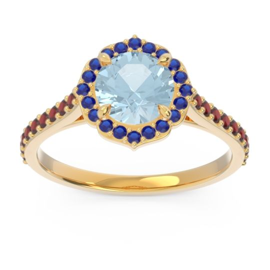 Aquamarine Halo Pave Pulla Ring with Blue Sapphire and Garnet in 14k Yellow Gold
