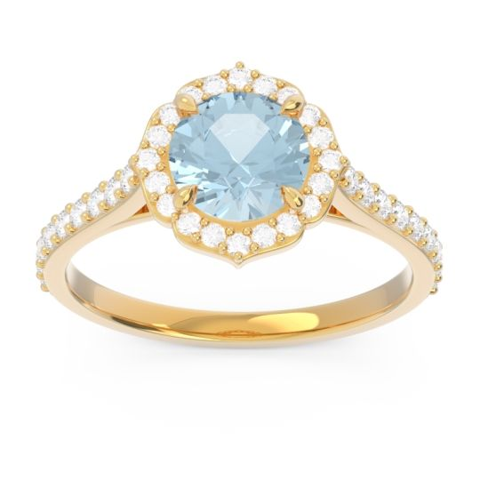 Aquamarine Halo Pave Pulla Ring with Diamond in 18k Yellow Gold
