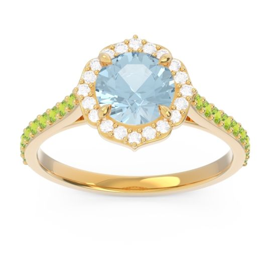 Aquamarine Halo Pave Pulla Ring with Diamond and Peridot in 18k Yellow Gold