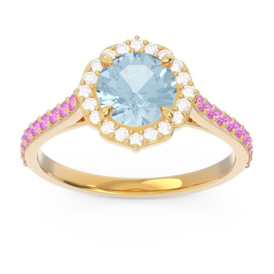 Aquamarine Halo Pave Pulla Ring with Diamond and Pink Tourmaline in 18k Yellow Gold