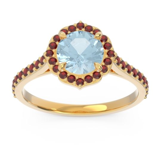 Aquamarine Halo Pave Pulla Ring with Garnet in 18k Yellow Gold