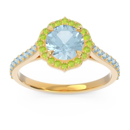 Aquamarine Halo Pave Pulla Ring with Peridot in 14k Yellow Gold