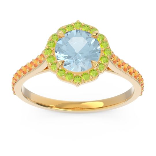 Aquamarine Halo Pave Pulla Ring with Peridot and Citrine in 18k Yellow Gold