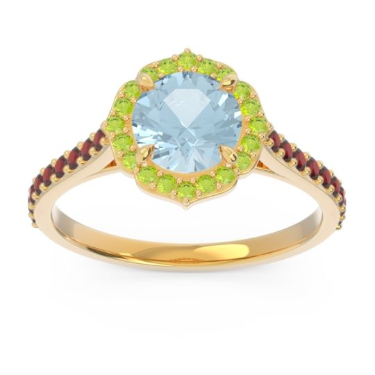 Aquamarine Halo Pave Pulla Ring with Peridot and Garnet in 14k Yellow Gold