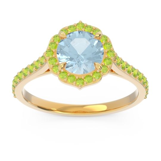 Aquamarine Halo Pave Pulla Ring with Peridot in 18k Yellow Gold