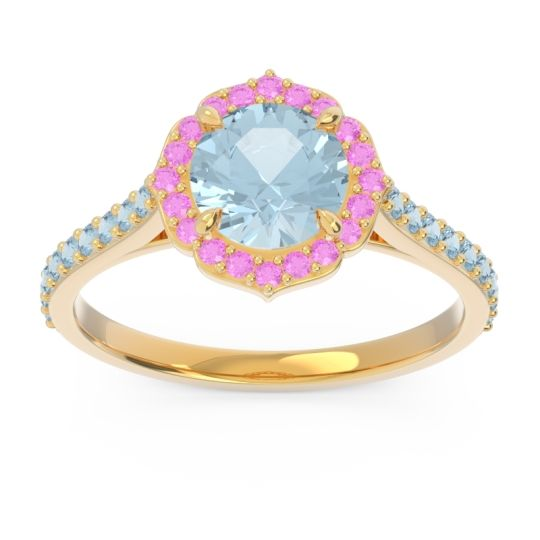 Aquamarine Halo Pave Pulla Ring with Pink Tourmaline in 14k Yellow Gold