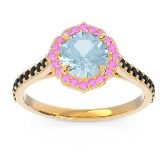 Aquamarine Halo Pave Pulla Ring with Pink Tourmaline and Black Onyx in 14k Yellow Gold