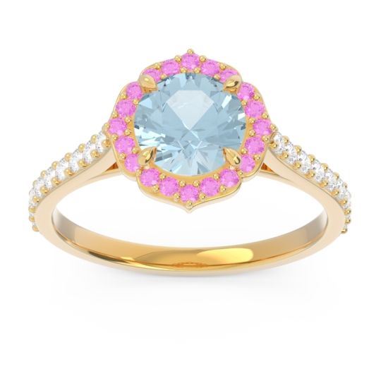 Aquamarine Halo Pave Pulla Ring with Pink Tourmaline and Diamond in 14k Yellow Gold