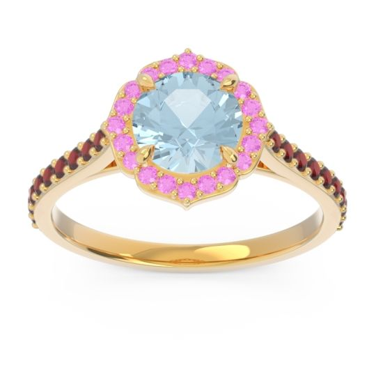 Aquamarine Halo Pave Pulla Ring with Pink Tourmaline and Garnet in 14k Yellow Gold
