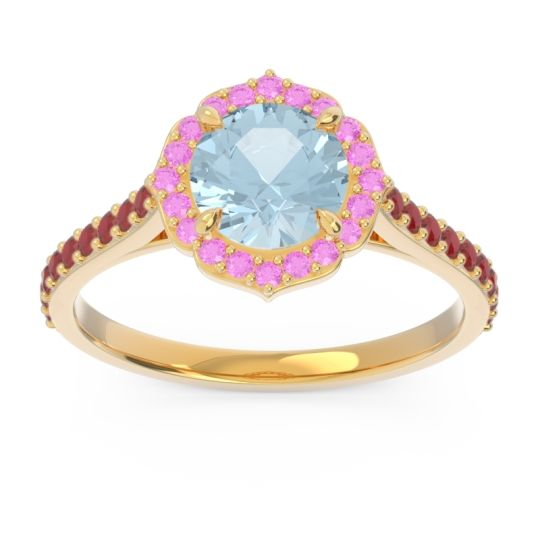 Aquamarine Halo Pave Pulla Ring with Pink Tourmaline and Ruby in 18k Yellow Gold