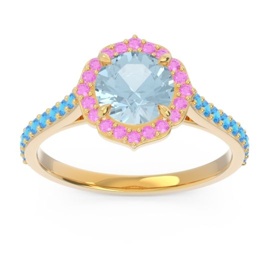 Aquamarine Halo Pave Pulla Ring with Pink Tourmaline and Swiss Blue Topaz in 14k Yellow Gold