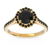 Black Onyx Halo Pave Pulla Ring in 18k Yellow Gold