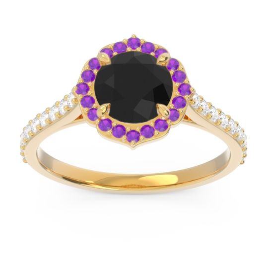Black Onyx Halo Pave Pulla Ring with Amethyst and Diamond in 14k Yellow Gold