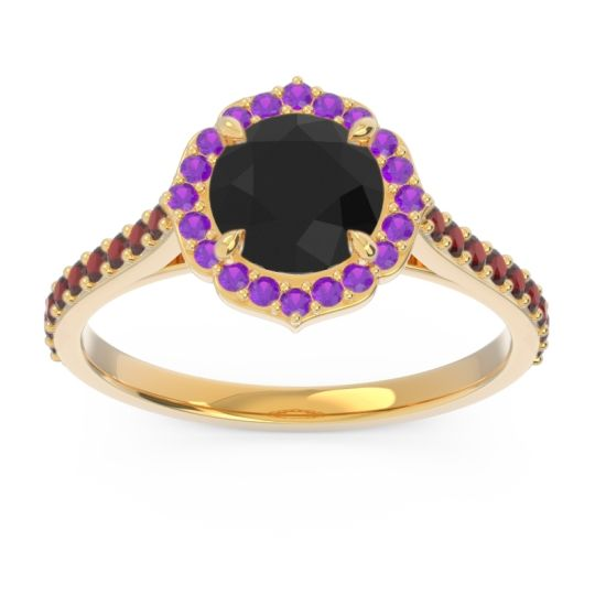 Black Onyx Halo Pave Pulla Ring with Amethyst and Garnet in 14k Yellow Gold