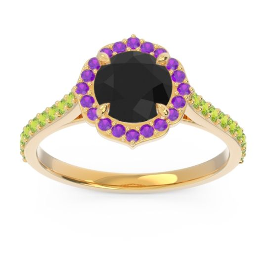 Black Onyx Halo Pave Pulla Ring with Amethyst and Peridot in 14k Yellow Gold