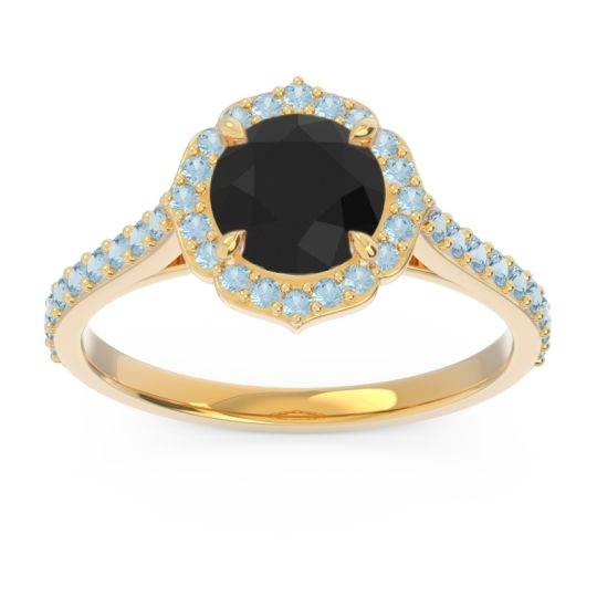 Black Onyx Halo Pave Pulla Ring with Aquamarine in 14k Yellow Gold