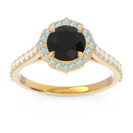 Black Onyx Halo Pave Pulla Ring with Aquamarine and Diamond in 14k Yellow Gold