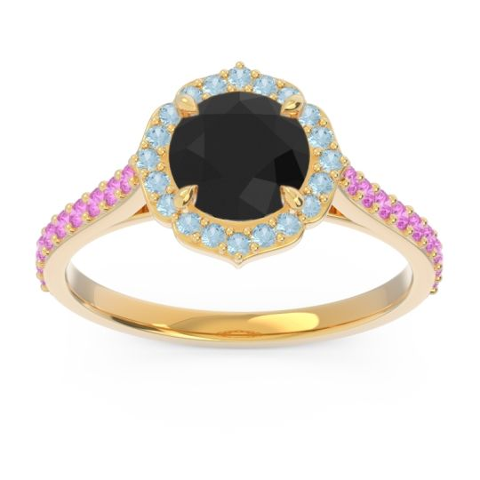 Black Onyx Halo Pave Pulla Ring with Aquamarine and Pink Tourmaline in 14k Yellow Gold