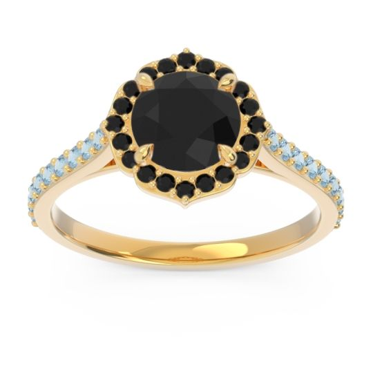 Black Onyx Halo Pave Pulla Ring with Aquamarine in 18k Yellow Gold
