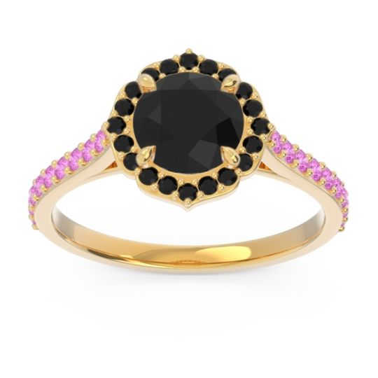 Black Onyx Halo Pave Pulla Ring with Pink Tourmaline in 14k Yellow Gold