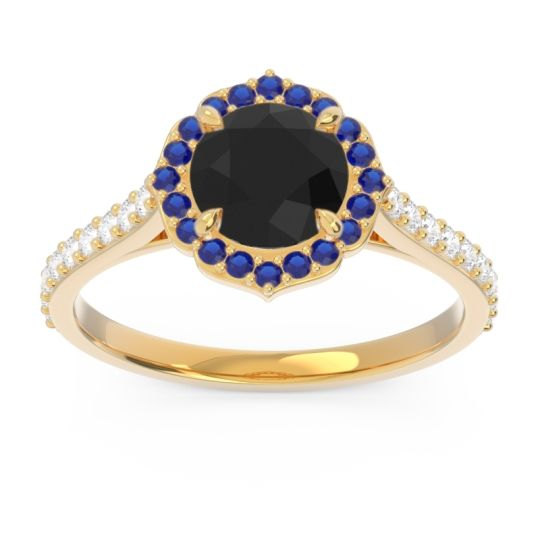 Black Onyx Halo Pave Pulla Ring with Blue Sapphire and Diamond in 14k Yellow Gold